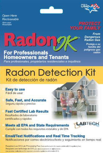 Radon OK detection kit retail package